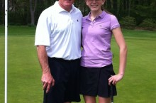 Caption: Sophomore Jenny O'Brien and her dad pose after putting on the last green at the Father Daughter Golf Outing.  Photo Credit: Jenny O'Brien