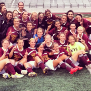 The Mercy Varsity Soccer Team last year at the District Championship.