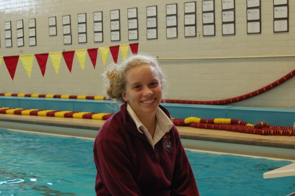 Sophomore Caroline Reamer is a two year varsity swimmer who competes in freestyle and individual medley events.