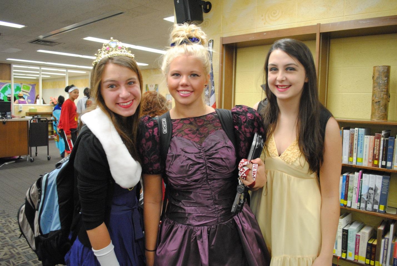 Seniors (from left) Marisa Tasky, Paris Guminik, and Tillie Kozlowski show off their princess costumes on Mercy's Disney themed day during Spirit Week.  Photo courtesy of Katharine Rzepecki