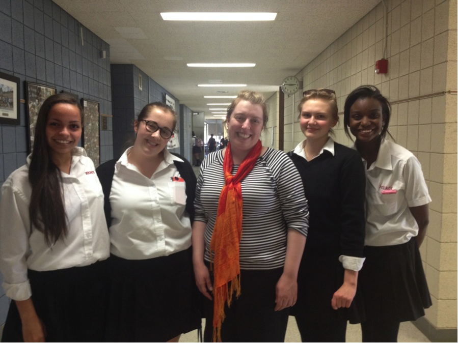 Film Club founders, (from left) Tasia Gabriel, Emma Greenleaf, Mrs. Youngerman, Rita Erickson, and Karli Winfrey, will host the first film screening in early November.