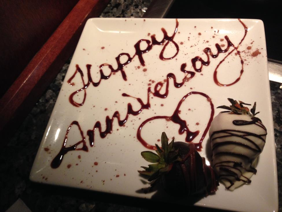 The Melting Pot creates complimentary dishes for special occasions. For example, they provide a Rice Krispie treat with a candle in it for birthdays, and chocolate covered strawberries in the shape of a heart for anniversaries.