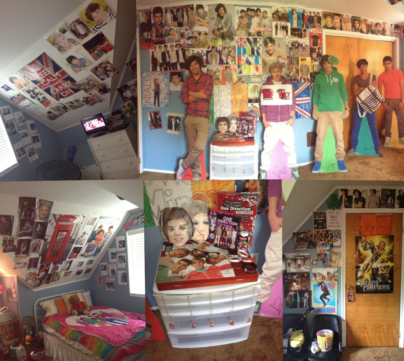 Sophomore Lona Contardi's room is decked out in One Direction after a failed attempt to win sound check passes from 98.7 AMP radio.  Photo credit: Lona Contardi