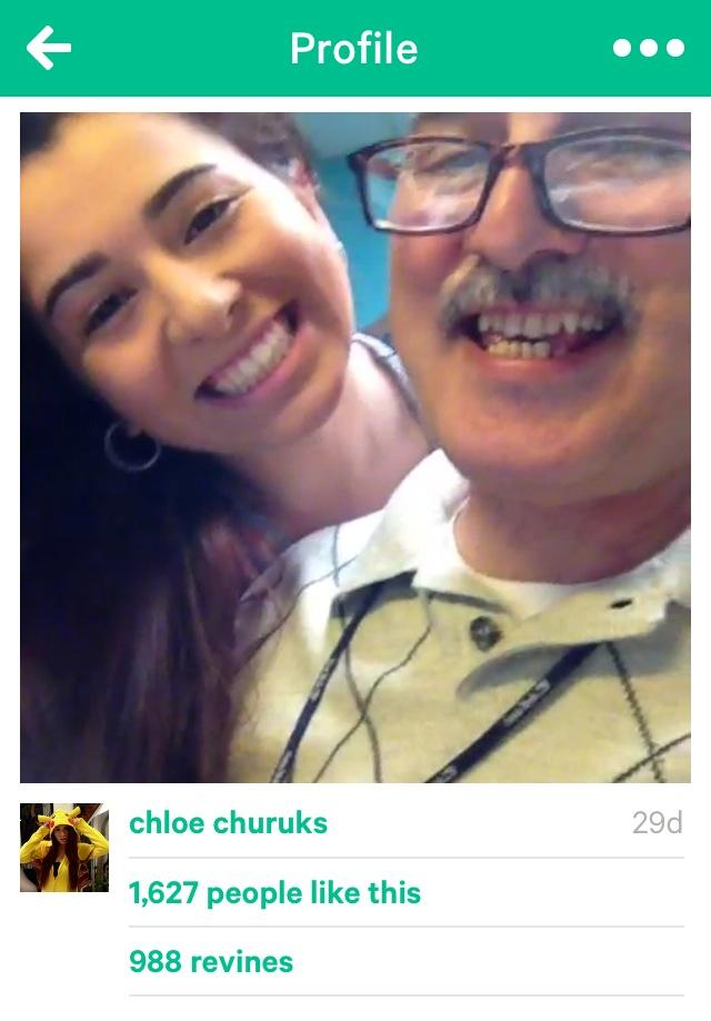 Junior Chloe Churukian and her father pose for a snapshot on her famous Vine channel.