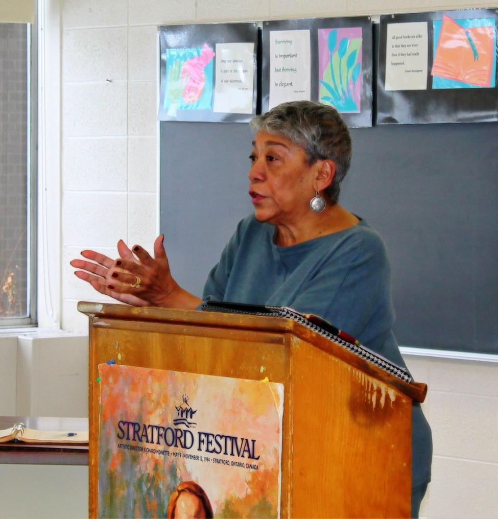 Olivia McQueen address' the students in Mercy  High Schools English classes, informing them of her life, her story, and her experiences.