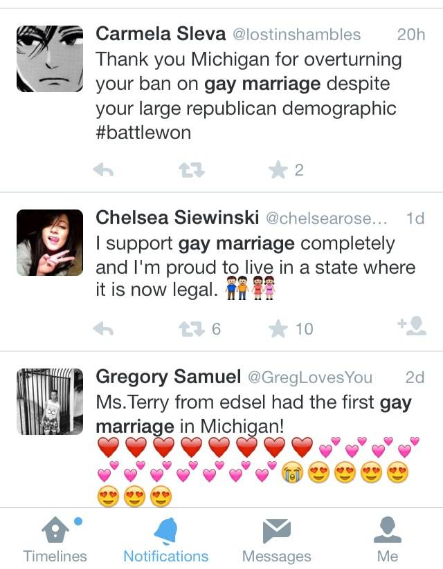 Shortly after gay marriage was legalized in the state of Michigan people immediately retreated to twitter as an outlet to express their emotions regarding the controversial law being lifted.