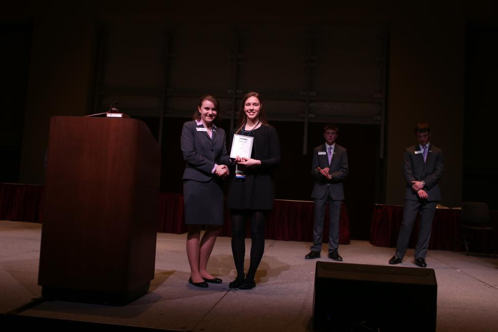 Claire Lachner (right), Mercy's BPA president, smiles with state president, Megan Tack, as she accepts the Chapter Membership Increase award on behalf of the Mercy BPA chapter.