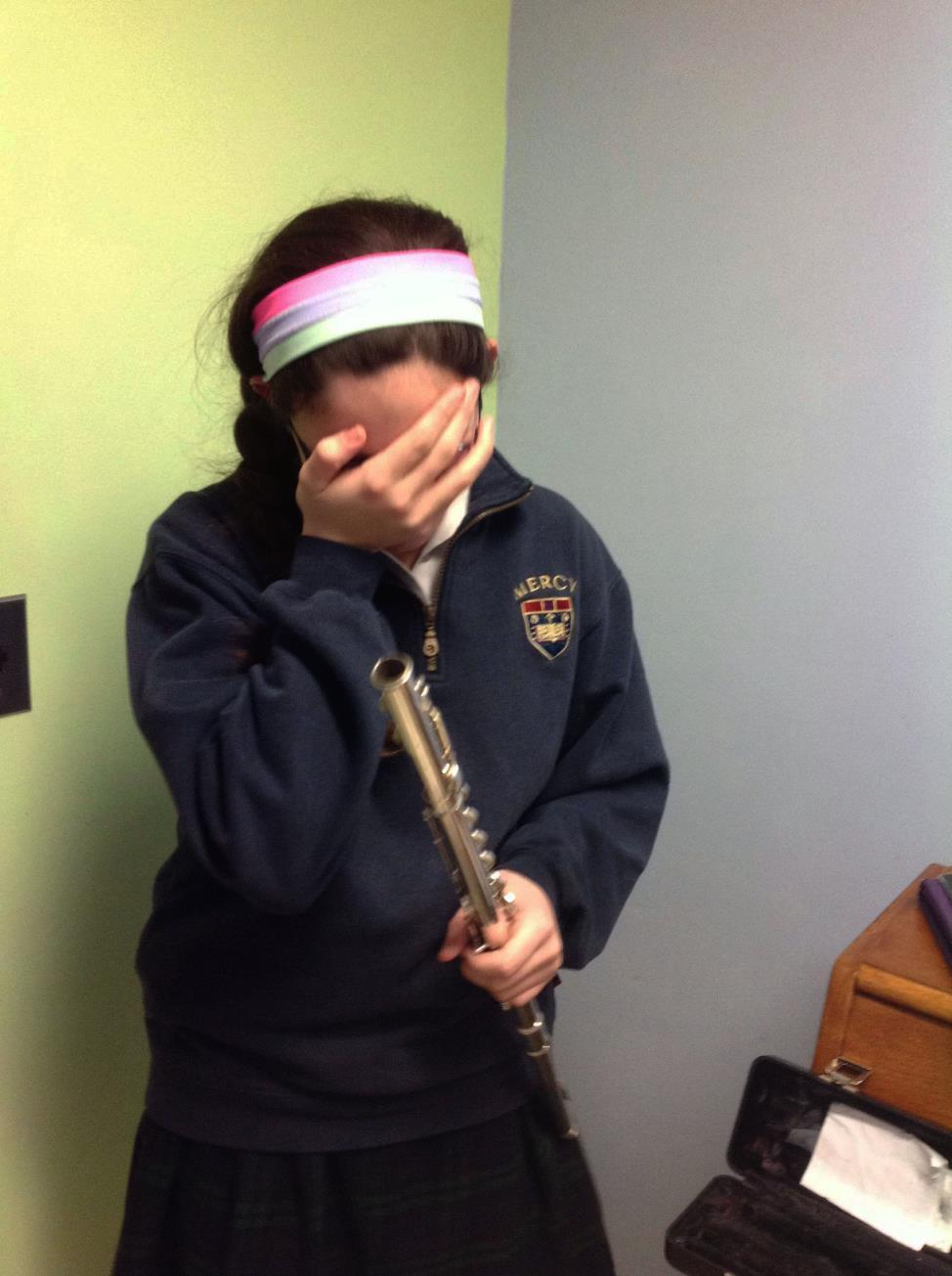 While Scarchilli is intently focused on becoming a better musician, she has a unique ability to know when comedic relief is needed. While practicing flute, she frequently breaks down in to fits of uncontrollable laughter.